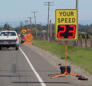 Oregon Road Works Staff Protected by Radar Speed Signs